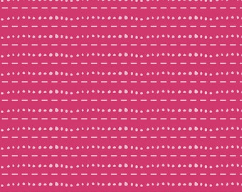 Art Gallery Les Points Rose in Knit fabric by the yard, cotton spandex, pink knit fabric, stretch fabric