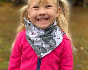Child kids bears, baby shark neckwarmer (scarf, cowl, snood, neckband, kids scarf) toddler, girls scarf, boys scarf, fleece, gaiter