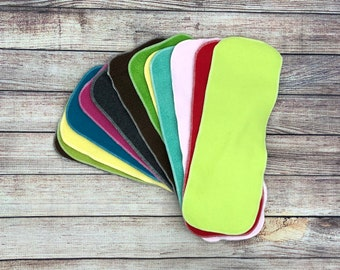 Reusable MicroFleece Cloth Diaper Liners with finished or unfinished edges solid colors Free Shipping