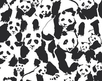 Art Gallery Pandalings Pod Assured cotton woven fabric by the yard, pandas, mask fabric, animal, quilting cotton