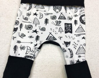 Forest Animals Maxaloones print | Grow with me pants | Leggings | black and white | Infant, Newborn, Baby, Toddler sizes