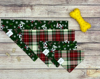 Green dogs & holiday plaid reversible dog bandana, pet dog bandana, over collar bandana, slide on collar, Christmas Holiday gift, candy cane