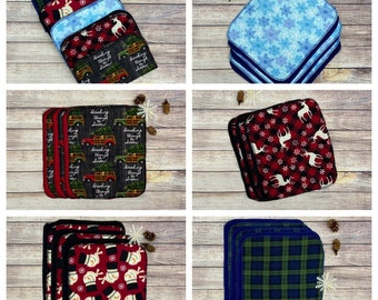 Unpaper towels, eco friendly cloth towels, reusable towels, cloth napkins, Free Shipping, snow, Christmas, winter, plaid, deer, gift idea