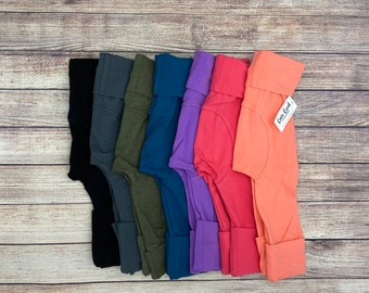 Solid color Grow with Me pants, maxaloones, Free Shipping, pants, leggings, Infant, Newborn, Baby, Toddler sizes