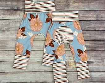 Fall Floral print   Grow with me pants   Leggings   black and white   Infant, Newborn, Baby, Toddler sizes   Maxaloones
