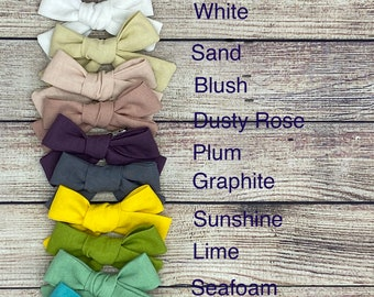 """4"""" linen bows for baby, toddlers, girls with alligator clips"""