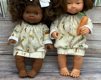"Minikane Miniland bunny sweater dress, Easter dress, free shipping, 15"" doll dress, 13"" doll dress"