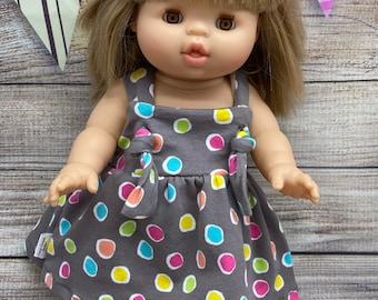 Minikane Miniland knot overall dress, minikane clothes, miniland clothes, girl, Rainbow, doll clothes, party clothes, party dress, free ship