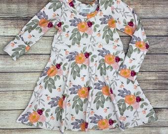 Girls grow with me dress, toddler dress, girls floral dress, free shipping, fall dress, back to school dress