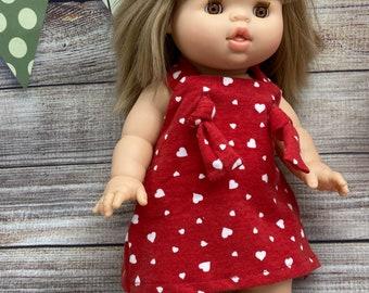 Minikane Miniland knot overall jumper dress, Hearts, love, doll clothing, party dress, red hearts, free shipping