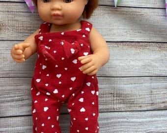 Minikane Miniland knot overalls, Hearts, love, doll clothing, party clothes, free shipping, minikane clothes, miniland clothes, boy, girl