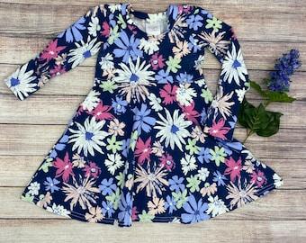Girls grow with me dress, toddler dress, girls floral dress, free shipping, custom print dress