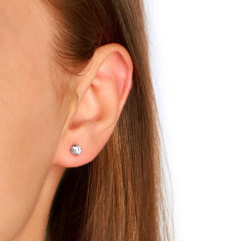 Earlobe Teens Unisex Adult Cartilage Upperlobe 14k White or Yellow Gold Wire Stud Earrings-4.5mm