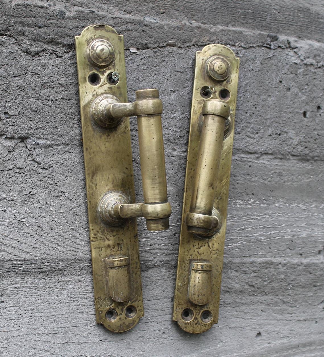 Set 2 brass antique large door pulls 1900s, vintage front door handle, barn door wall decor, rustic metal door handle, outdoor door knob.