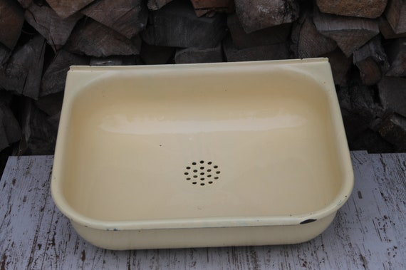 Sink, Vintage kitchen sink color pale yellow, bathroom vanity with sink,  antique cast iron sink, old enamel basin, made in USSR in the 1990.