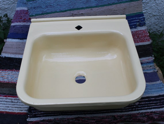 Sink, vintage bathroom sink, kitchen sink colors beige, farmhouse enamel  sink, rustic soviet cast iron sink made in USSR in the 1990s