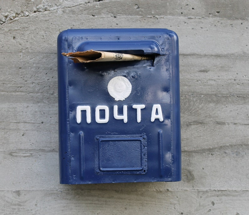 Russian wall mount mailbox antique mail box for decor old post box made in USSR in 1950 blue metal mail box post soviet large letter box