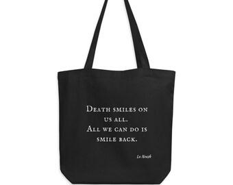 Death smiles fabric bag