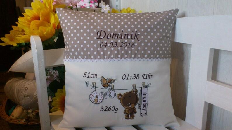 Cushion for birth Teddy boy beige dots  image 0