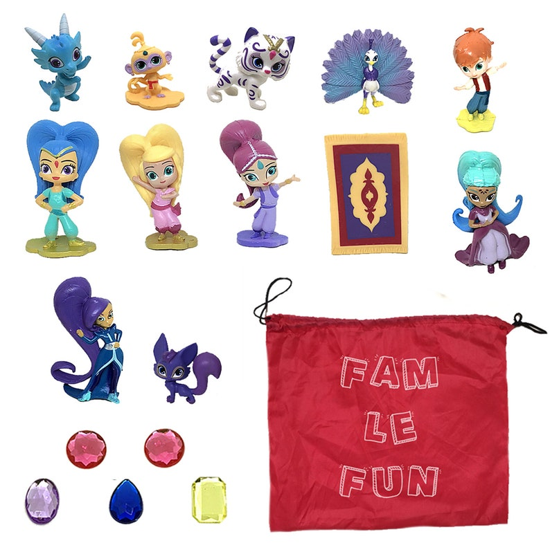 12 pcs Shimmer and Shine Figures and 5 Genie Gems Set Cupcake Cake Toppers  1-2 inch PVC Toys - Shimmer, Shine, Zac, Leah, Tala and More