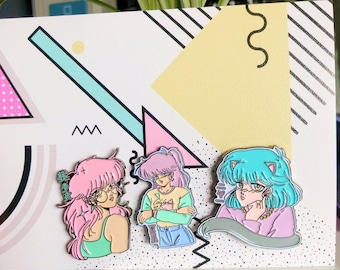 Ab 9,95 Euro: NEW & LIMITED Enamel Pin Set ''Lovely 80s Girls''
