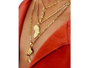 3c1d49362eedc7 ankh necklace africa necklace and nefertiti necklace 3 piece set ,18k gold  plated anhk necklace ,men anhk necklace ,mini anhk necklace