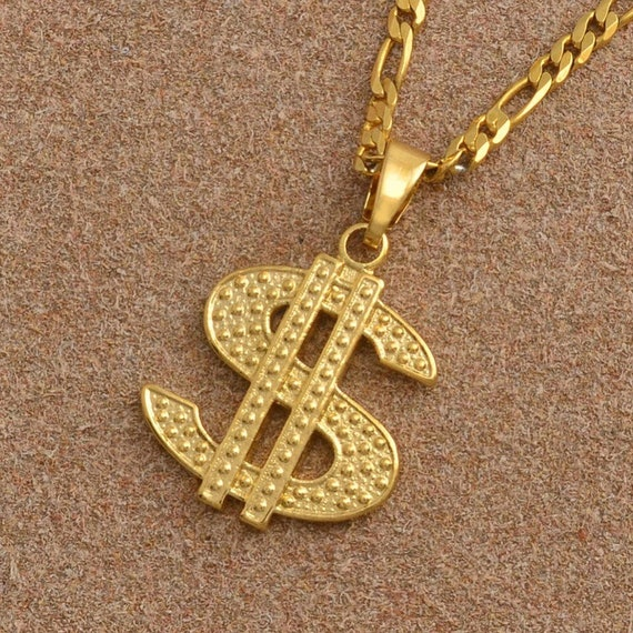 """Money Sign Charm Gold Plated Piece Pendant 24/"""" Figaro Chain Necklace Jewelry"""