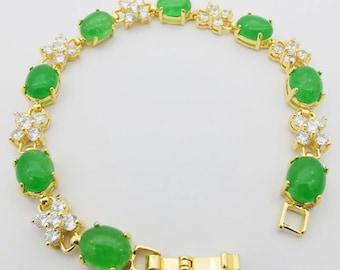 "jade flower bracelet,Jade Oval Beads Four Leaf Hollow Cutting Inlaid Rhinestone Amulet Gold Plate Bracelet Bangle 7""L"