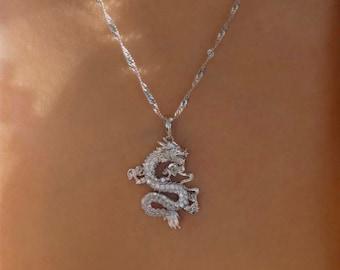 SILVER Dragon necklace , 18k gold plated dragon pendant , dragon charm , dragon jewelry ,fantasy necklace men