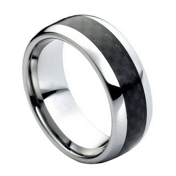 8mm Men /& Ladies Tungsten Carbide Charcoal Carbon fiber Inlay Wedding Band Ring