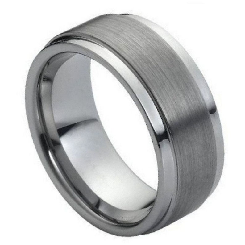 Tungsten 9mm Flat Brushed Center With Polished Stepped Edges Wedding Band