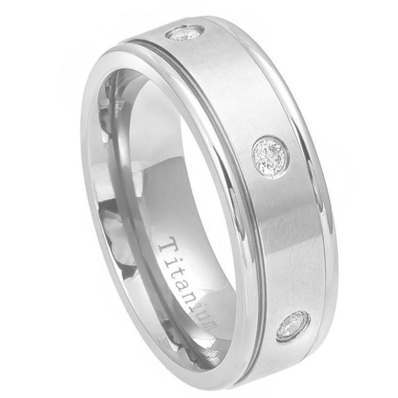Titanium 9mm White Plated Ring With Brushed Center /& 6 Natural White Cubic Zirconia Diamonds Wedding Band