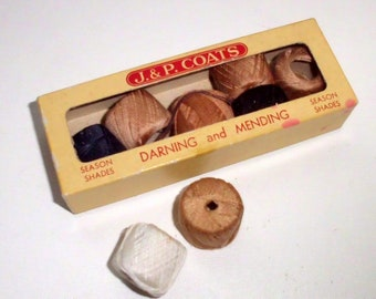 Rar! Vintage box stuffing yarn / 40s / J.&P. coats darning and mending, season shades / 8 rolls
