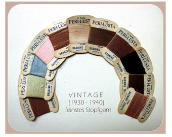 Rar! Vintage (1930-1940) Set of 11 cards of fine stuffing thread / PERI-LUSTA fine darning thread made in England