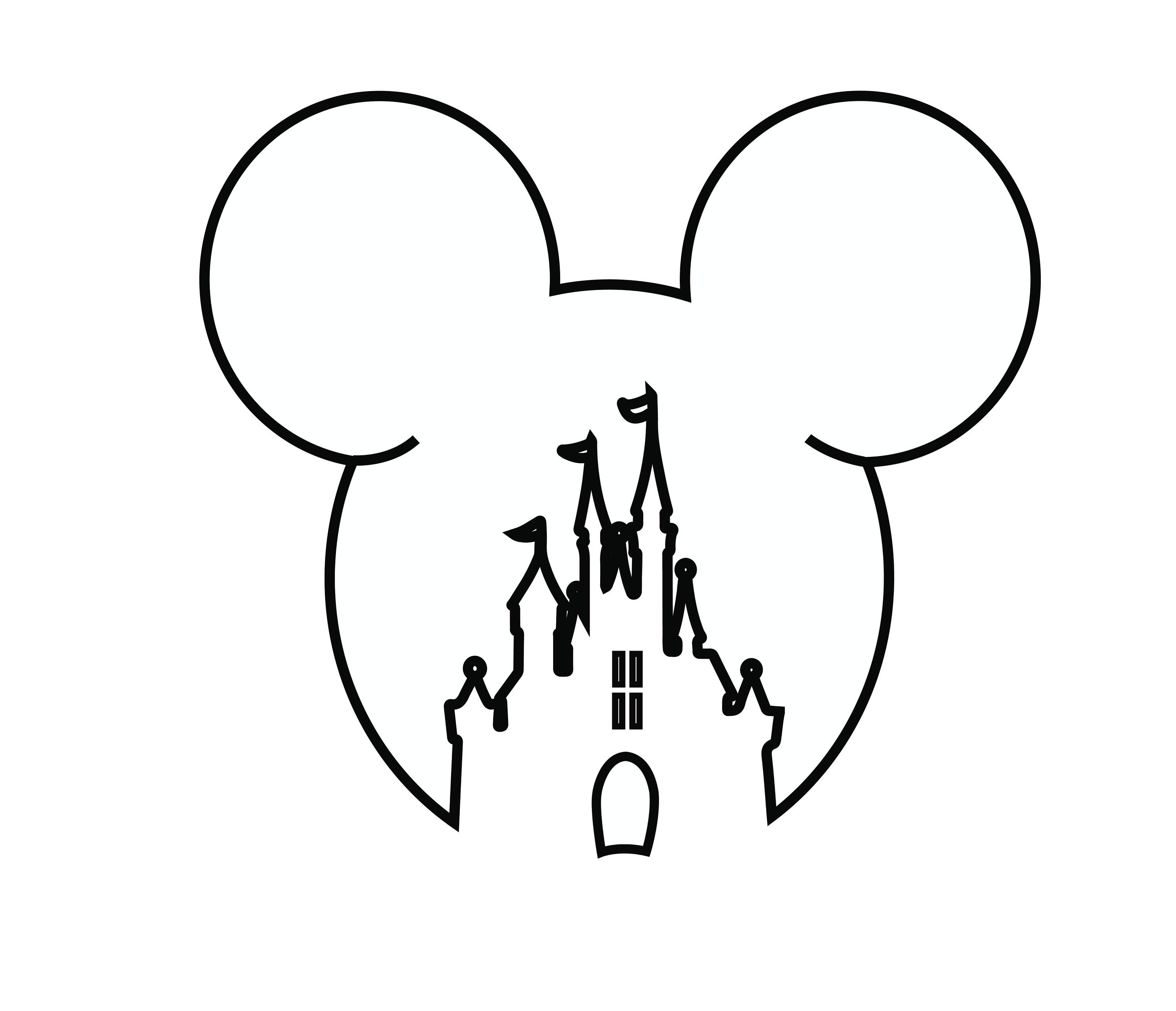 Mickey Mouse Head Svg Disney Castle Outline Svg Disney Etsy