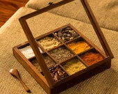 ExclusiveLane Spice Box With Spoon In Sheesham Wood - Spice Rack Spice Holders Masala Container Decorative Boxes Storage Gift Jewelry Box