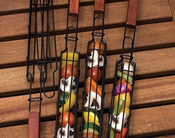 Nonstick Kabob Grilling Baskets, Set of 4 fro Out Door Barbecue Grilling - Perfect Gift For the Husband or Yourself! Evenly Cook You Kabobs