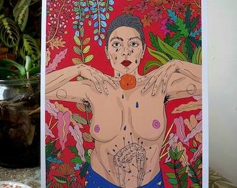Tattooed Lady Holds the Orange