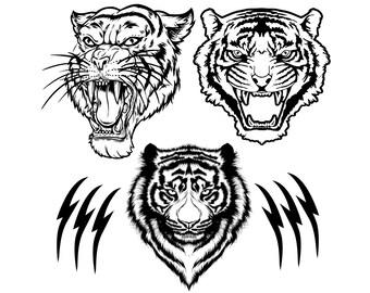 Tiger SVG, Tiger Head svg, Head of tiger SVG, Tiger Clipart, Cut Files for Vinyl Cutters, Cricut files, dxf, eps, png