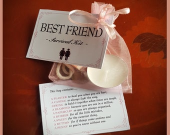 Best Friend Survival Kit Birthday Present Gift Thank You Bag