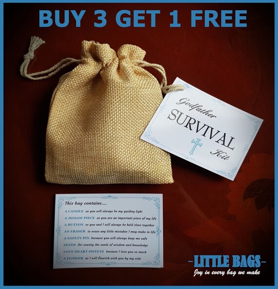 Godfather Survival Kit Novelty KEEPSAKE THANK YOU Gift Christening Godparents