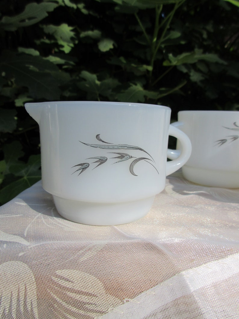 Vintage 60s Anchor Hocking Fire King stackable milk glass coffee cup set with creamer cup