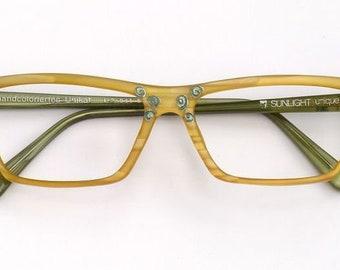 Eyeglass frame hand painted, yellow