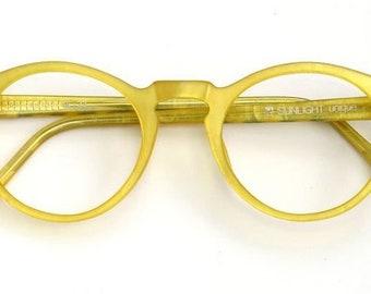 Eyeglass frame hand painted, yellow, matt