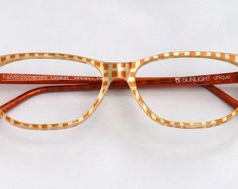 Eyeglass frame hand painted, orange spotted