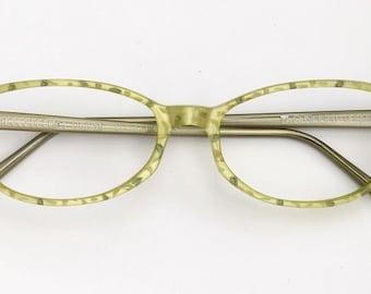 Eyeglass frame hand painted, ethno light green