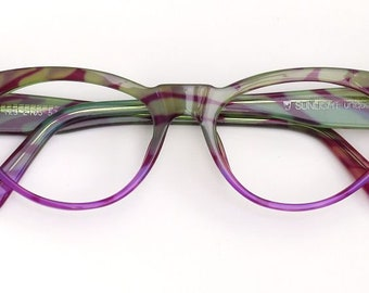 Eyeglass frame hand painted, lime green with batik line