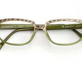 Eyeglass frame hand painted, green/grey, spotted