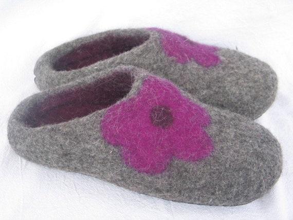 Filzpantoffeln Puschen Hausschuhe Blume Blümle Prilblume 36 42 Damen Wolle Filzsohle