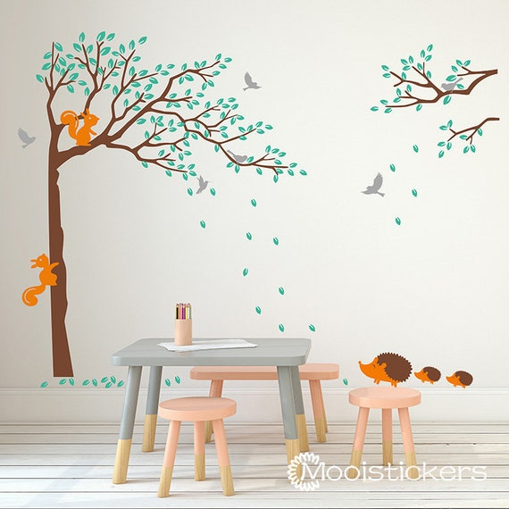 Corner Tree Wall Decal-Squirrel and Hedgehog Animal Tree Wall | Etsy
